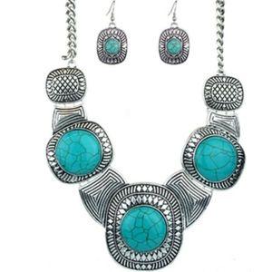 Simulated Turquoise Necklace Set